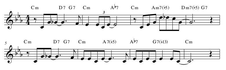 Angel Eyes, Matt Dennis. Un esempio di cadenza minore