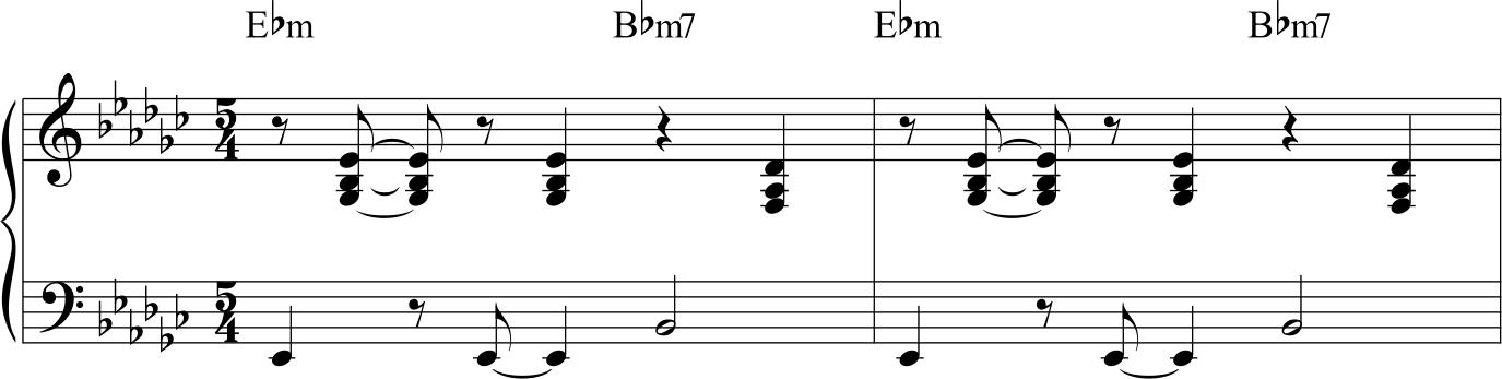 Dave Brubeck Take Five, vamp del piano