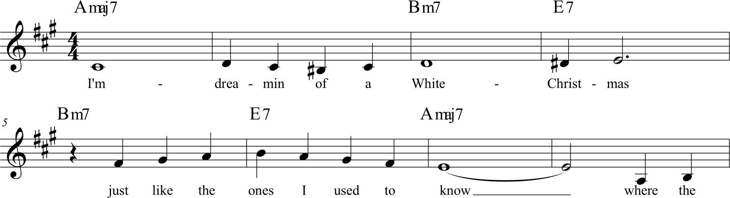 White Christmas, la prima frase del tema